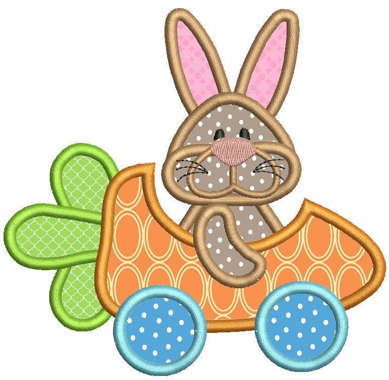 Bunny applique embroidery design funny easter by embroidalot
