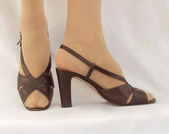 Designer High Heels, Brown Leather, Faux Lizard, Vintage