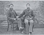 Vintage Male Victorian Couple Two Men Beards Edwardian Bearded Same Sex Gay Vintage Cabinet Card Photography Photo Print