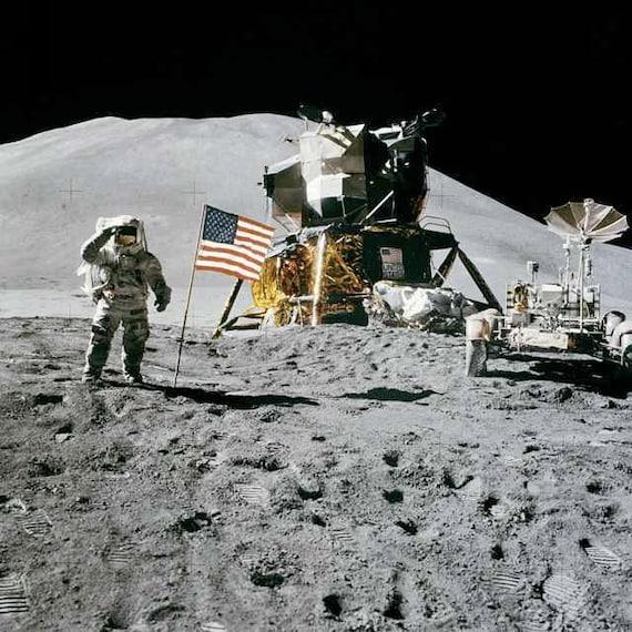 American Flag on the Moon Apollo 15 Astronaut James Irwin NASA