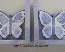 Personalized hand painted butterfly bookends, lavender with pink roses, rose,glitter bookends,princess bookends,girls bookends,kids bookends