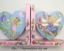 fairies and flowers,hand painted, personalized bookends,pastel colors,fairy bookends,personalized bookends,girls room decor,fairy,garden