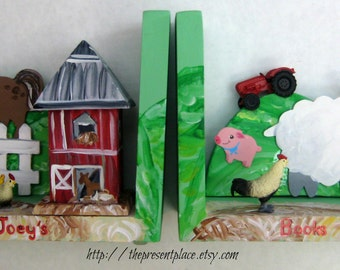 Hand painted farm bookend,red barn,horse,sheep,farm decor,farmyard bookend,boys bookends,kids bookends,personalized,bookends for children