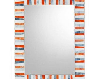 Bathroom Mosaic Mirror - Orange, White & Gray