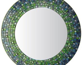 Mosaic Wall Mirror - Blue & Green