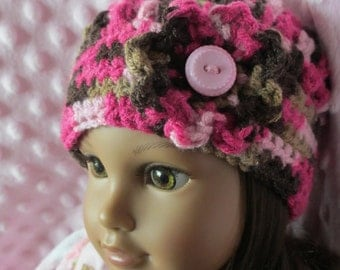 "Pink and Brown Crochet Doll Hat, 18"" Doll ... American Girl Doll"