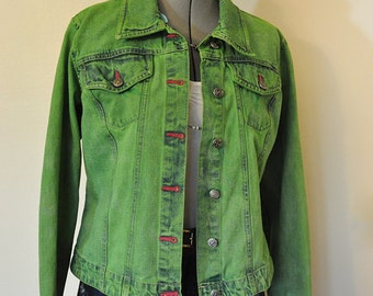 Lime Green Denim Jacket - JacketIn