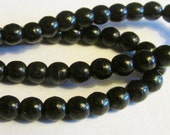 gorgeous Czech Glass glass beads solid jet black 100 count 4mm