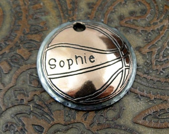 Custom Dog ID Tag Basketball-Handmade Pet ID Tag-Dog Collar ID Tag-Personalized Dog Tag for Dogs