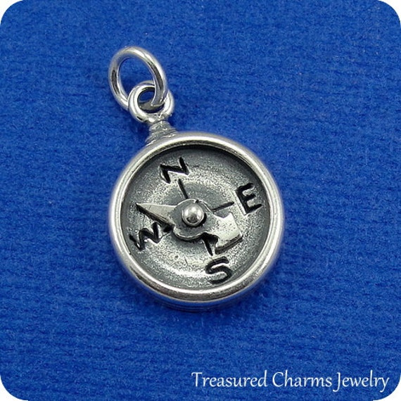 compass charm sterling silver compass charm for necklace or
