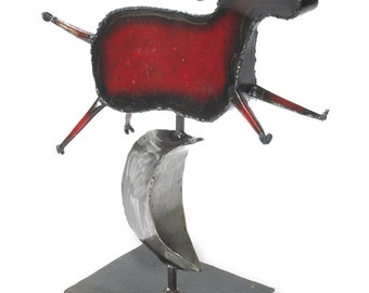Cow Sculpture Reclaimed Metal Artwork Cow Over the Moon