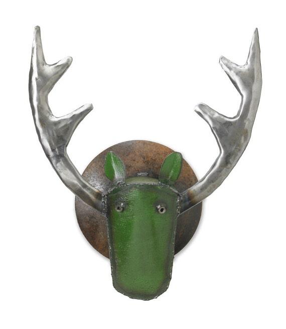 Art Metal Wall Sculpture Elk Head Green Head
