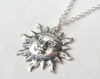 Silver Sun Face Necklace, Sun Necklace with Sterling Silver or Silver Plated Chain