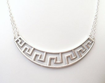 Silver Statement Necklace, Choker Necklace, Geometric Necklace, Meander Necklace, Greek Key Necklace