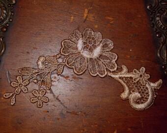 Hand Dyed Floral Venise Lace Applique  Aged Lavender Tea Wash