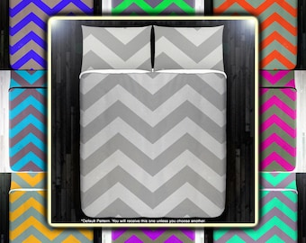 Shade of Gray Chevron Duvet Cover Bedding Queen Size King Twin Blanket Sheet Full Double Comforter Toddler Daybed Kid Teen Dorm