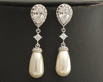 Pearl Bridal Earrings Wedding Jewelry Silver Cubic Zirconia Posts with Cream OR White Ivory Swarovski Pearl Teardrops Pearl Earrings