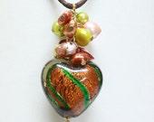 Orange/Green Heart-Shaped Bead Necklace - C.414