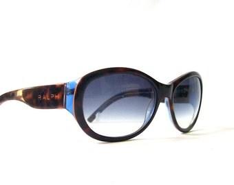 vintage 1990's ralph lauren sunglasses blue lenses brown tortoise shell frames womens ladies sun glasses fashion accessories accessory retro