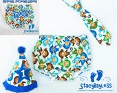 Mod Monkey Party Hat - Diaper Cover - Necktie for 1st Birthday Cake Smash - ORIGINAL Design by StacyBayless
