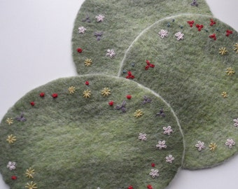 Felted Embroidered Trivet - Wildflower Meadow tea or coffee pot trivet to compliment my Critter Cosies