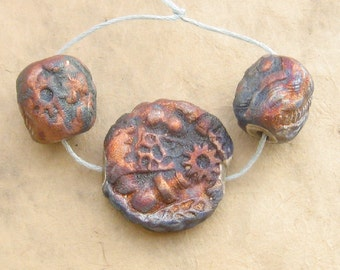 Raku Ceramic Beads - Purple Mechanical Nugget Focal Set