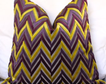 pillow cover, chevron print pillow, purple chevron pillow, 18 x 18 pillow cover, 20 x 20 pillow, chenille pillow, chenille chevron pillow
