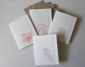 Leaves Notecard Set - 4 Leaf Cards and 4 Envelopes - Blank Inside