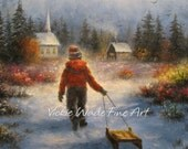 Heading Home Art Print boy sledding paintings church country winter snow sledding, Vickie Wade Art