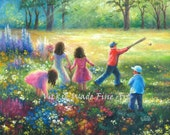 Garden Children Original Oil Painting 16X20 five children, three girls, two boys, playing outdoors, summer kids