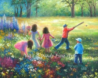 Five Garden Children ORIGINAL Painting 16X20 five kids in garden, three girls, two boys, playing outdoors, summer kids, Vickie Wade Art