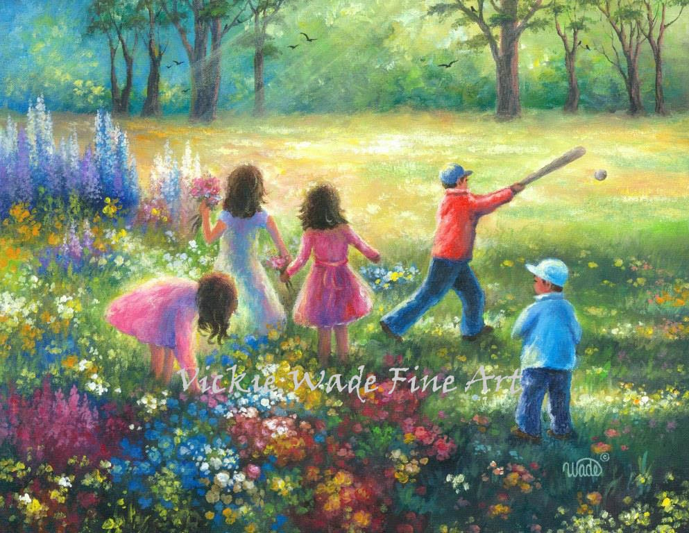 Five garden children original painting 16x20 five kids in for Oil painting for kids