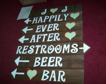 Wedding signs / reception signs / wedding decorations /ceremony sign w/ Stakes / wooden signs / personalized signs / wedding signage beach
