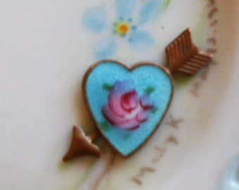 Vintage Guilloche Enamel Heart Cabochon Rose Flowers Arrow Love Flower Finding Valentines Day #1560SQ vintagerosefindings