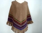 Crochet Poncho shawl in Brown