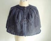 Knitting Cape capelet in Dark Grey