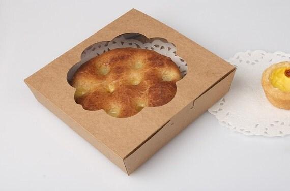8 Window Pie Boxes In Kraft 18cm X 18cm