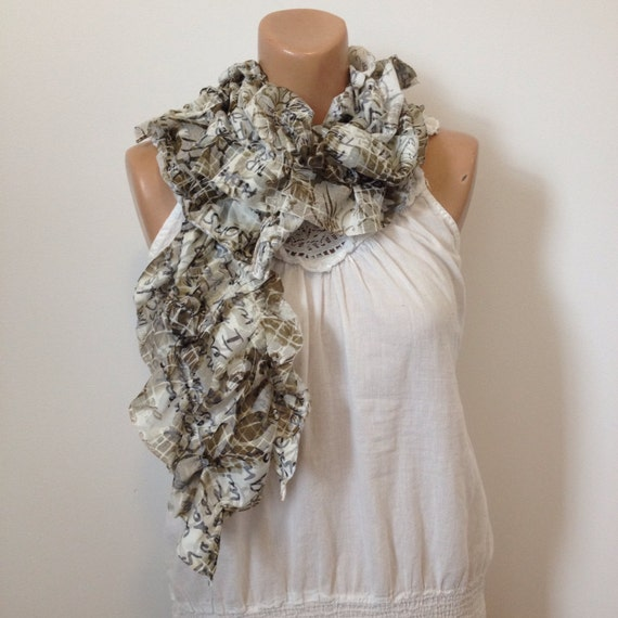 Peace and Love Ruffle Fashion Scarf with Hibiscus Flowers