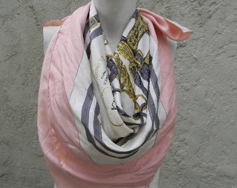 vintage. AUTHENTIC Hermes Paris Brides de Gala  //  Large Pink Silk Scarf