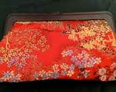 Vintage 1960's Red Brocade Clutch Bag Purse from Hong Kong