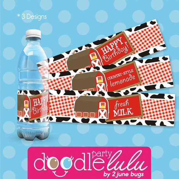Farm Animals Birthday Party Water Bottle Labels, Barnyard Bash