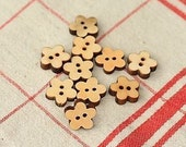 Set 06 Craft Ideas 13mm FLOWER Natural Wood buttons