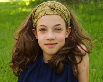 Cotton Head Wrap, Olive Green Headband, Festival Headscarves, Pretty Headscarf, Dark Green Adult Headwrap (#4151) S M L X