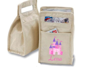Personalized Princess Castle Insulated Cotton Lunch Bag - Personalized with Any Name and You Choose the Font!
