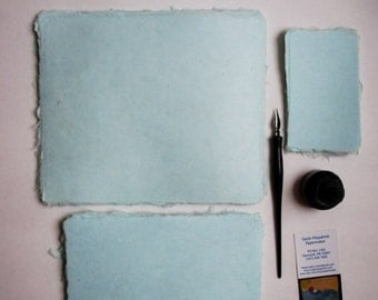 Ten sheets of lovely handmade paper, seafoam