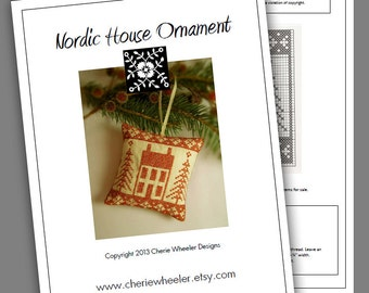 PDF Cross Stitch Pattern for Redwork Nordic House Ornament