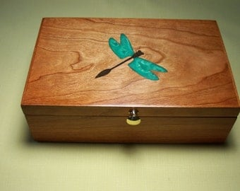 Jewelry Box, Dragonfly Inlay, Cherry Wood, Custom Item