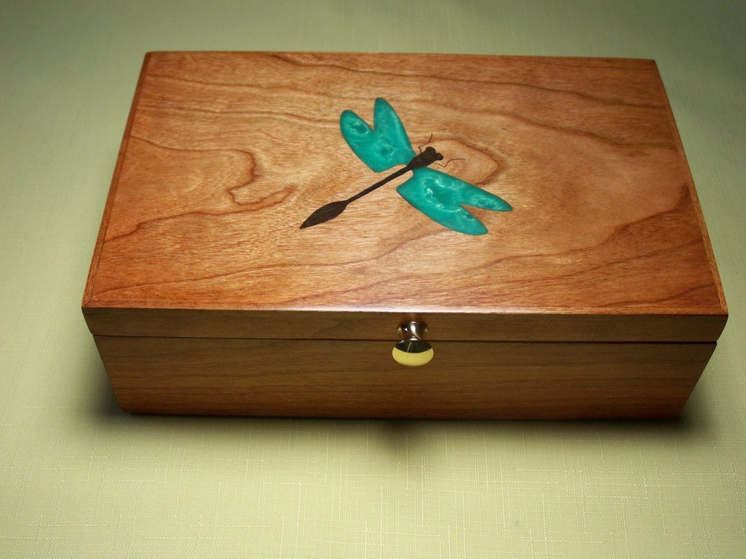 ?zoom & Jewelry Box Dragonfly Inlay Cherry Wood Custom Item Aboutintivar.Com
