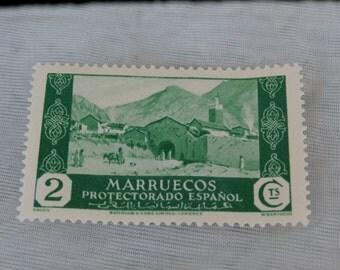 Spanish Morocco Stamp Vintage Marruecos Protectorado Espanol 2 Cts Green