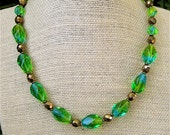Vintage Blue Green Glass Necklace with Large Faceted Old Czech Glass Beads Mermaid Colors Gorgeous Lime and Aqua - CatchingWaves